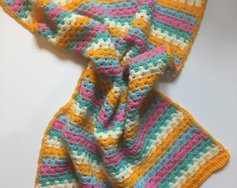 Pastel Striped Baby Blanket, Handmade & Crocheted for Stroller, Push Chair or Car Seat