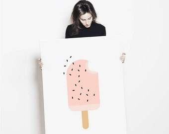 Pink Ice Cream Wall Art Print | Popsicle Kids Poster