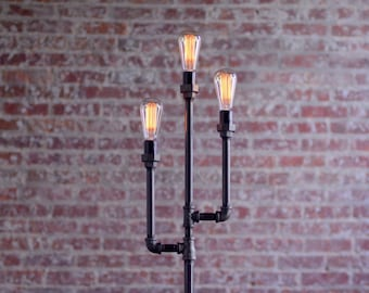 Pipe Floor Lamp - Industrial Floor Lamp - Edison Bulb Lamp - Gothic Floor Lamp - Steampunk Lamps