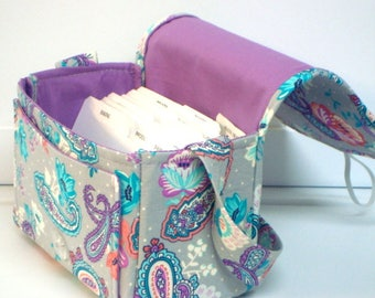 "Large 4"" Size Coupon Organizer / Budget Holder Box Attaches to Your Shopping Cart  Turquoise Purple Paisley Floral with Purple Lining"