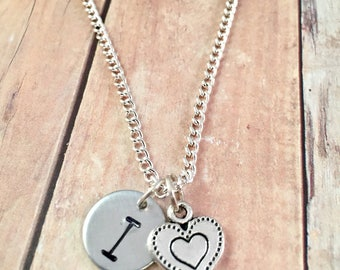 "Heart Necklace, Personalized Heart Necklace, Initial necklace, "" I (Heart)"" teen necklace, hand stamped, Gift for her, Little Girl Jewelry"