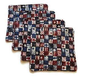 Red, White Blue Coasters, Patriotic Coasters, Set of 4, Veterans