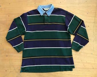 Vintage EDDIE BAUER Striped Rugby Long Sleeve Shirt with Denim Collar