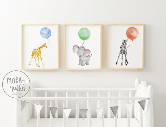 Set 3 animales con globos/ ANIMALS with Balloons Set