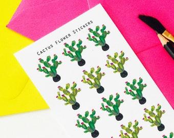 Cactus Flower Cactus Stickers, Botanical Stickers, Planning Stickers,  Erin Condren, Cactus Stickers