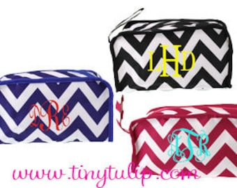 Monogrammed Chevron Cosmetic Travel Bag