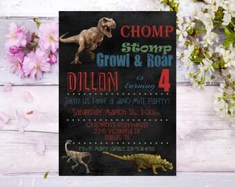Dinosaur Birthday Invitation, Dinosaur Invitation, Red, green, blue, Dinosaur Invite, Dinosaur Party, Printable Invitation
