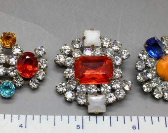 Vintage Czech Rhinestone Buttons Set of Five