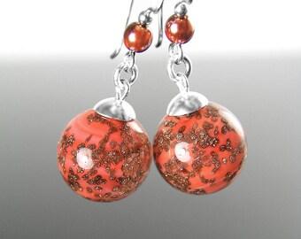 Murano Glass Coral Earrings, Sterling Silver Earrings, Authentic Venetian Glass Earrings, Pink Coral Drop Earrings, Copper Murano Jewelry