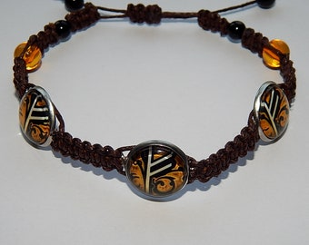Runic braided bracelet, runic talisman, runic amulet, runic formulas bracelet, Runic Protective formulas, viking runic, fehu rune