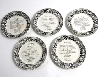 French Antique Drinking Song Plates  c. 1820-40
