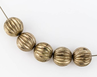 12mm Antique Gold Ribbed Melon Bead #MPC006