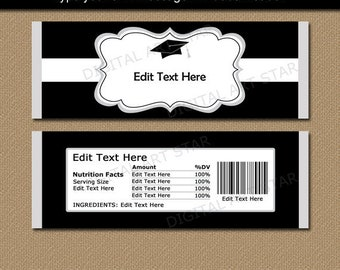 Graduation Candy Wrapper Printable, Black and White Graduation Candy Label, Graduation Party Favors, Candy Bar Wrapper, Graduation Favors G1
