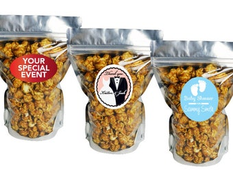 Custom Baby Shower Favors Gourmet Popcorn (3.5 cup) | Personalized Popcorn Baby Shower Favor Treat Bag Thank you Gift Event Snack Gifts