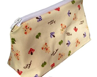JULY PREORDER Cosmetic pouch bag with pig mushroom forest japanese fabric make up case gift bag travel kit toiletry zipper kawaii