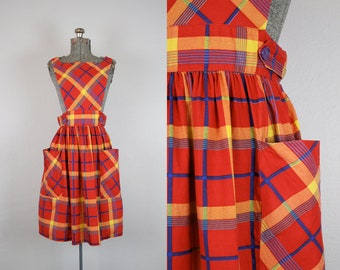 1970's Cotton Primary Colors Pinafore Sun Dress / Size Small
