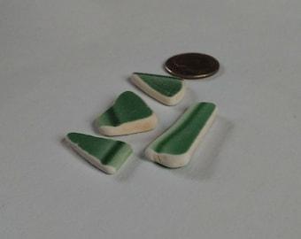 "Genuine Maine ""Green"" Sea Pottery Shards 4 Pieces (item #305)"