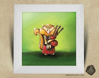 Frame square 25 x 25 birth gift with bagpipes nursery kids baby squirrel Illustration