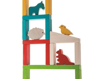 Build A Zoo - Natural Wood Baby Toy, Montessori Toy, Educational Toys, Wooden toy, Toddler wood Toy, Organic Toy, Waldorf Toy, Toy for kids
