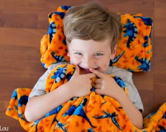 Monogrammed Preschool Blanket , Personalized Blanket, Dinosaur Blanket
