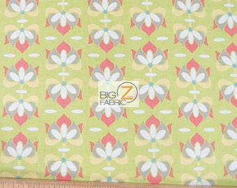 """100% Cotton Fabric By Lila Tueller For Riley Blake - Priscilla Lime - 45"""" Width Sold By The Yard (FH-1549)"""
