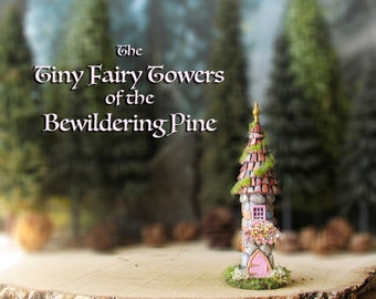 The Woodland Fairy Tower of The Bewildering Pine - Miniature Enchanted Stone Tower w/ Window Box, Mossy Tiled Roof, Arched Door and Finial