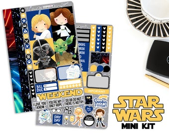 "Planner Stickers Weekly Star Wars ""STAR WARS"" Mini Kit (Erin Condren, Mambi, Happy Planner)"