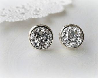 Silver Faux Druzy Stud Earrings
