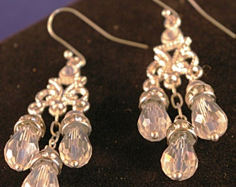 Silver with Clear Crystal Chandelier Earrings