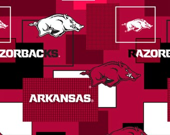 Arkansas Razorbacks Cotton Fabric with New Block Pattern-Sold by the Yard-100% Cotton-Perfect for Quilting and so much more
