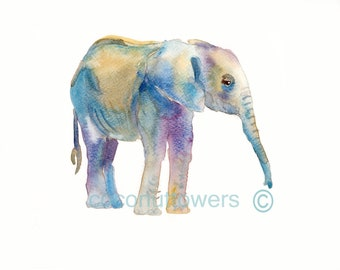 Baby  Elephant, Nursery Art , Animal Painting, Nursery Art Print, Children's Art, Kids Art