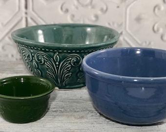 Mismatched set of Blue Green Bowls Set of 3
