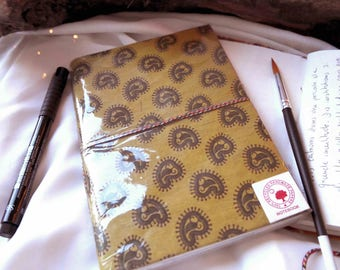 Light green notebook printed Paisley paper 100% recycled