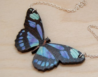 Blue Longwing Butterfly Necklace | Wooden Butterfly Pendant Necklace | Insect Jewelry | Woodland Butterfly Art