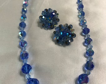 Vintage, Sparkly Blue Crystal NECKLACE and EARRING Set