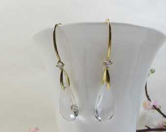 Swarovski Crystal Earrings, Swarovski Clear Elements Earrings Colour Graduation in Clear to Snow White with Shining Gold, Sparkling Earrings