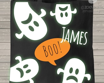 Halloween GLOW in DARK personalized ghost trick or treat candy bag  HGGB