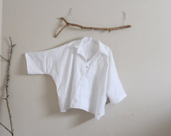 oversized linen shirt top with frog toggle made to order / kimono sleeve top / plus size shirt top / casual linen top / white linen shirt