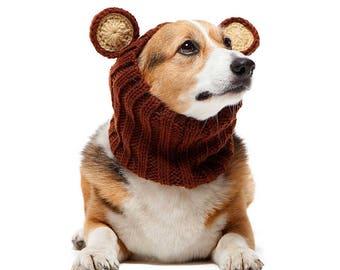 Grizzly Bear Dog Snood | Knit Crochet Dog Hat | Dog Costume | Winter Scarf | Ear Warmer