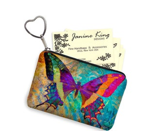 Boho Butterfly Business Card Case Key Chain Key Fob Small Zipper Pouch Coin Purse Bridesmaid Gift Colorful Bohemian purple blue RTS