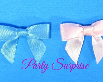Bows Blue Pink satin bows for crafts, baby showers, gender reveal, satin bows invitations wedding craft bows scrapbook bows, tiny satin bows