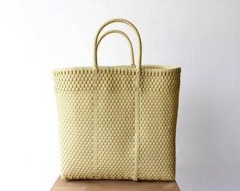 Vanilla Woven Tote bag, Picnic Basket, Beach Bag, Getaway Bag, Picnic Bag, Weekend Bag, Travel Bag, Mexican Gift, Mexico Bag