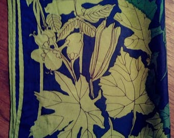 Vintage Vera Neumann Fall Leaf Print Scarf in Navy and Green
