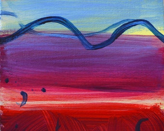 MORNING LIGHT ~ Original Abstract Landscape Acrylic Painting, Blue, Red, Cream Modern Abstract Art, Seascape, Sky, Water, Original Painting