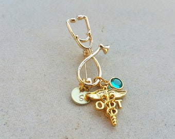 OT Occupational Therapist Gold Tone Therapy Handstamped Personalized Crystal Birthstone Initial Graduation Pin