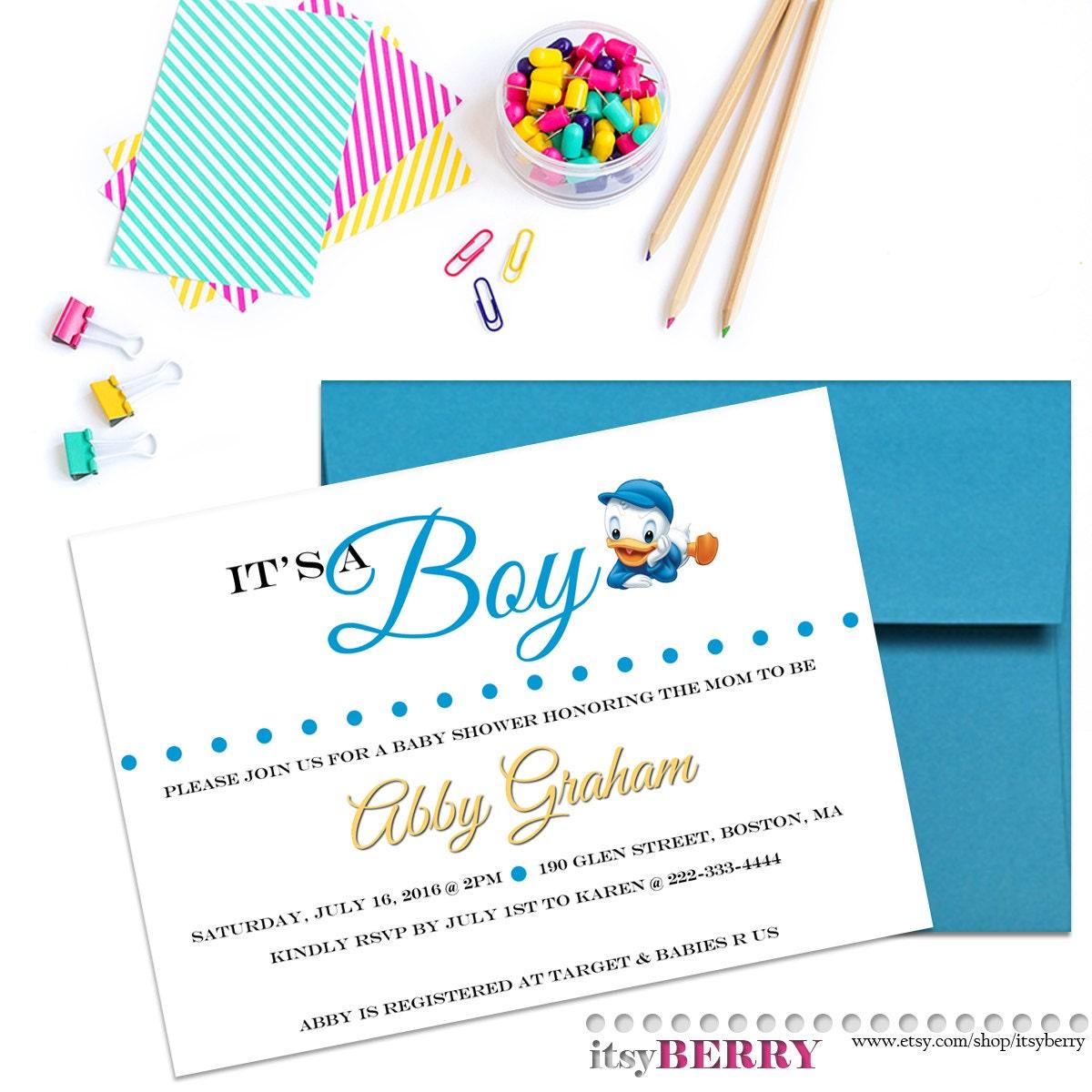 Boy Baby Shower Invitation Disney Theme Baby Showers Baby