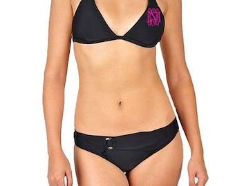 Double Monogrammed Black Ring Detail Bikini Swimsuit