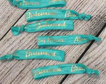 Bridesmaid hair ties Aquamarine // Maid of Honor Hair tie// wedding hair ties