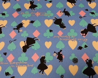 1 yard Alice in wonderland fabric blue  color Japanese fabric