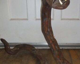 Large Natural Shaped Wood Rattlesnake Folk Art